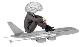 Businessman with brain instead head Stock Photos