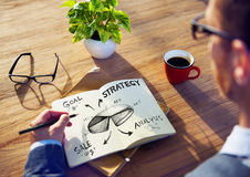 Businessman Brainstorming About Marketing Strategy Stock Images