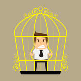 Businessman break the cage Stock Photos