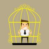 Businessman break the cage Stock Photos