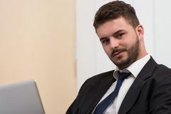 Businessman On A Break With His Computer Stock Photos