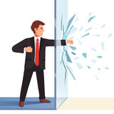 Businessman breaking through invisible glass wall. Flat style vector illustration  on white background Royalty Free Stock Images