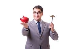 The businessman breaking piggybank isolated white background Stock Image
