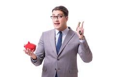 The businessman breaking piggybank isolated white background Royalty Free Stock Image
