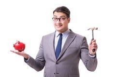 The businessman breaking piggybank isolated white background Stock Images