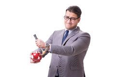The businessman breaking piggybank isolated white background Royalty Free Stock Photography