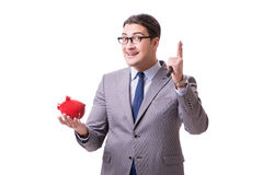 The businessman breaking piggybank isolated white background Stock Photos