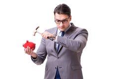 The businessman breaking piggybank isolated white background Stock Photography