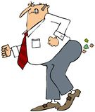 Businessman breaking wind. This illustration depicts a businessman pushing hard to pass gas Royalty Free Stock Photos