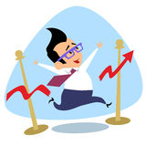 Businessman breaks the finish tape schedule of sales growth busi. Businessman breaks the finish tape schedule of sales growth. The image of business as a sport Royalty Free Stock Image