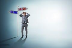 The businessman in brexit concept - uk leaving eu Stock Photos