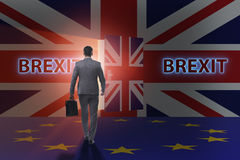The businessman in brexit concept - uk leaving eu Royalty Free Stock Photo