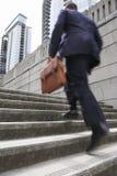 Businessman With Briefcase Ascending Steps Stock Photos