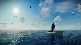 Businessman with briefcase on a boat in the middle of the ocean surrounded by seagulls. Hd video royalty free illustration