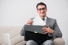 The businessman with briefcase in business concept Stock Photos