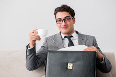 The businessman with briefcase in business concept Stock Images
