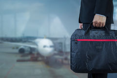 Businessman with briefcase for business trip travel concept Stock Image