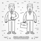 Businessman with briefcase and businessman with  folder   thin line icon. For web design and application interface, also useful fo Royalty Free Stock Photo