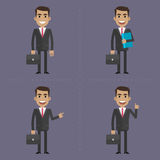 Businessman with briefcase in different poses Royalty Free Stock Image