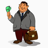 Businessman. With a briefcase and a dollars in hand Stock Images