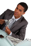 Businessman with briefcase Royalty Free Stock Photography