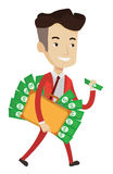 Businessman with briefcase full of money. Royalty Free Stock Images