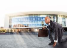 Businessman ready to start. Competition and challenge in business concept Royalty Free Stock Photography