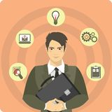 Businessman With A Briefcase And Icons Royalty Free Stock Images