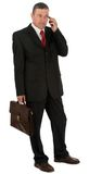 Businessman with briefcase isolated on white background royalty free stock images