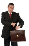 Businessman with briefcase isolated on white background Stock Photo