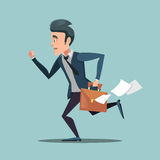 Businessman with Briefcase Late to Work. Man in Rush Royalty Free Stock Photography