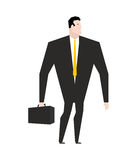 Businessman with briefcase. Manager in black formal suit. Yellow Stock Images