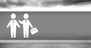 Businessman with briefcase meeting man icon. Digital composite of Businessman with briefcase meeting man icon Stock Photos