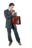 Businessman with briefcase and PDA Stock Photo