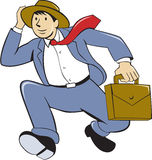 Businessman With Briefcase Running Cartoon Royalty Free Stock Images