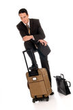 Businessman briefcase umbrella Royalty Free Stock Images