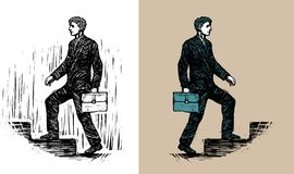 Businessman with briefcase walking upstairs. Illustration of businessman with briefcase walking upstairs Royalty Free Stock Photography