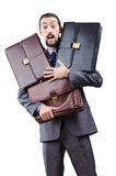 Businessman with briefcase on white Stock Photo