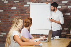 Businessman briefing over whiteboard to colleagues. In creative office Royalty Free Stock Photo