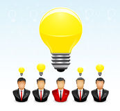 Businessman with the brightest idea. Vector illustration of five Businessmen with lightbulb above his head, which is one of them has the brightest idea than the Stock Image