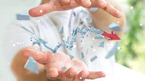 Businessman with broken crisis arrow 3D rendering Stock Images