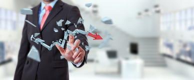 Businessman with broken crisis arrow 3D rendering Stock Image