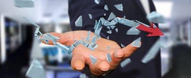 Businessman with broken crisis arrow 3D rendering. Businessman on blurred background with broken crisis arrow 3D rendering Royalty Free Stock Image