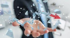 Businessman with broken crisis arrow 3D rendering. Businessman on blurred background with broken crisis arrow 3D rendering Stock Photography
