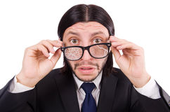 Businessman with broken eye glasses isolated on Royalty Free Stock Photography