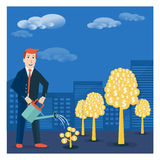 Businessman or broker watering golden tree offspring. Vector mon. Ey-making or startup business concept design Royalty Free Stock Photos