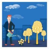 Businessman or broker watering golden tree offspring. Vector mon Royalty Free Stock Photos