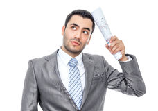 Businessman with bruised eyes and head Royalty Free Stock Images