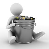 Businessman with bucket of money. Isolated 3D image Royalty Free Stock Image
