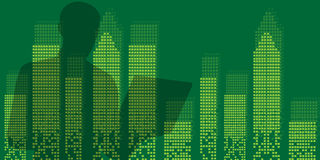 Businessman  building city scene on night time vector. Vector background vector Stock Images